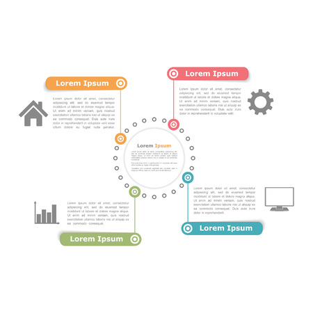 Circle diagram design template with four elements
