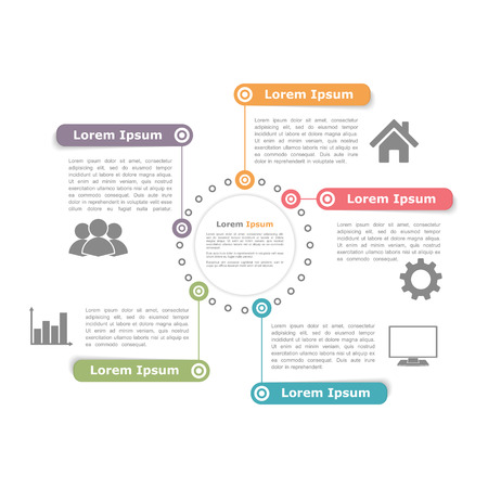 Cirkel diagram ontwerp sjabloon met vijf elementen