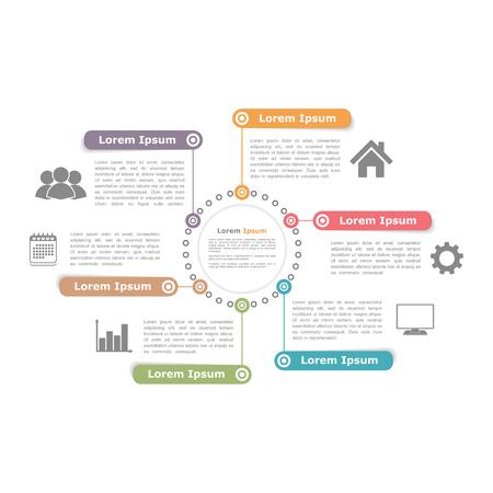 여섯 요소와 원 다이어그램 디자인 서식 파일