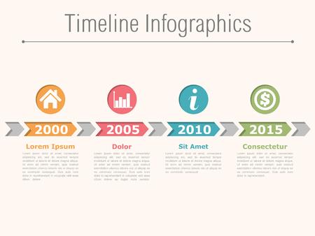 Tijdlijn infographics design met pijlen, processchema Stock Illustratie