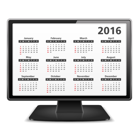event planner: Computer monitor with 2016 Calenda Illustration