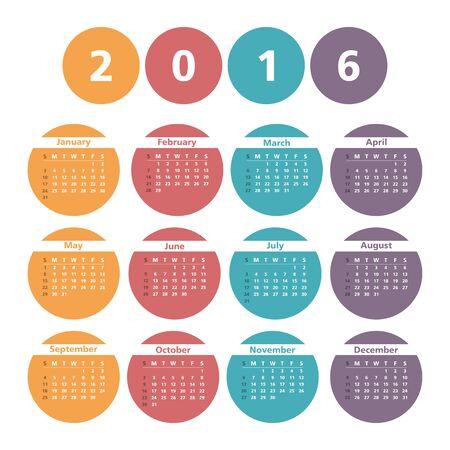 circles: 2016 Calendar in circles