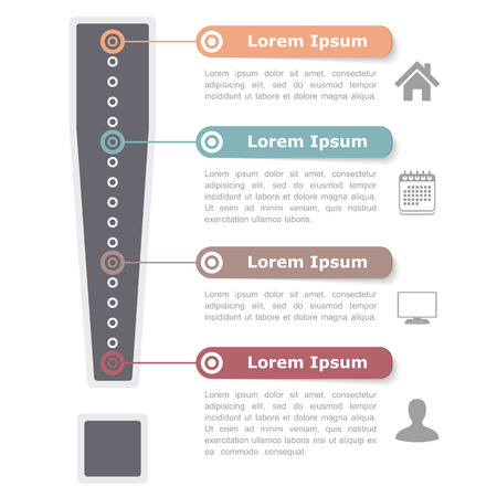 the four elements: Design template with exclamation mark, four elements, steps or options Illustration