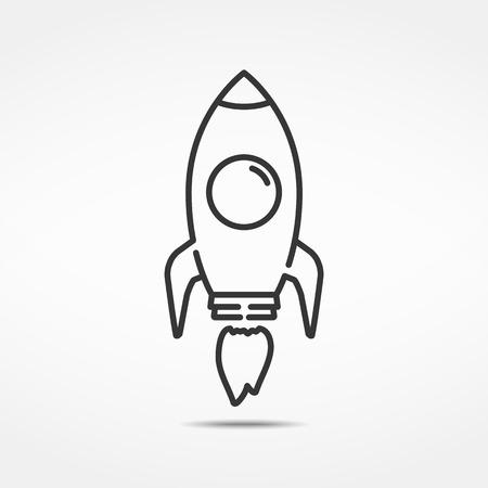 Rocket minimal line icon Illustration