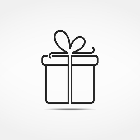 Gift box minimale lijn pictogram Stock Illustratie