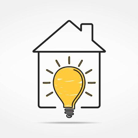 light house: Abstract house with light bulb
