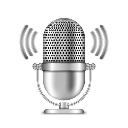 Microfoon op witte achtergrond Stock Illustratie