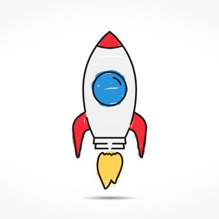 Hand drawn colored rocket icon