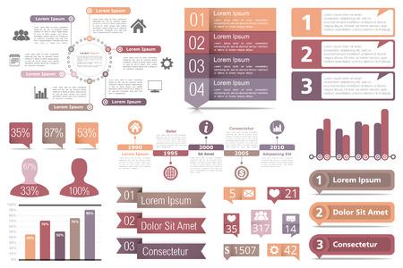 diagrama de procesos: Conjunto de elementos infográficos - diagrama de círculo, gráficos de barras, los objetos con números y porcentajes, línea de tiempo, botones