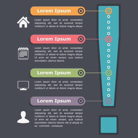 four elements: Design template with exclamation mark, four elements, steps or options Illustration