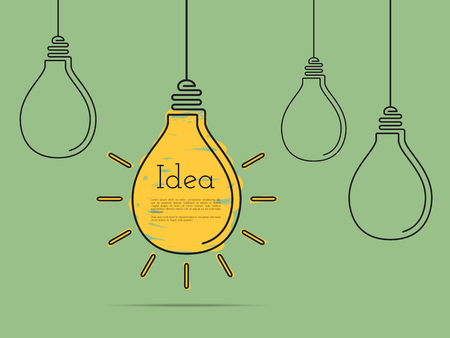 Idea concept with light bulbs, minimal flat design Imagens - 46316748