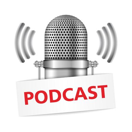 Microfoon met podcast banner