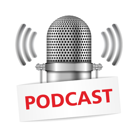 podcast: Microphone with podcast banner
