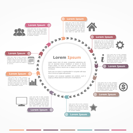 Circle diagram with arrows, infographics design template Illustration