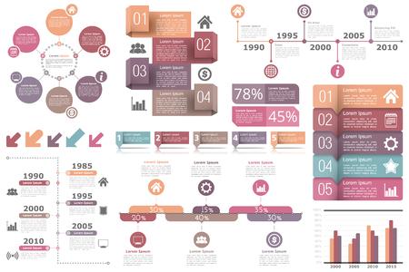 Conjunto de elementos infográficos - diagrama de círculo, líneas de tiempo, flechas, diagrama con porcentajes, gráfico de barras, los objetos con números de pasos o las opciones y texto