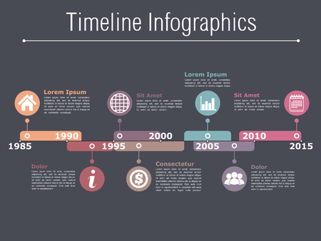 bar graph: Timeline infographics design template with different time intervals, dark background