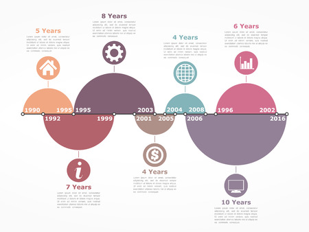 calendrier: Timeline infographics design template with circles representing different time intervals