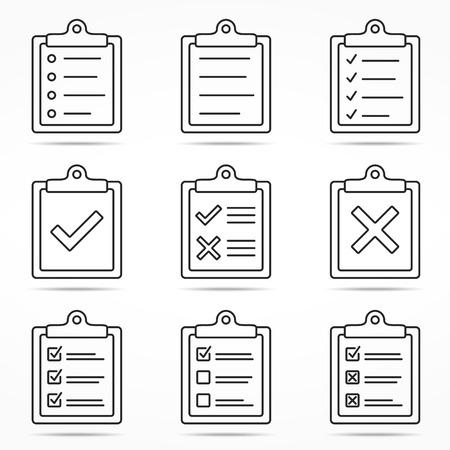Clipboard icons with check and cross symbols, minimal line style 일러스트