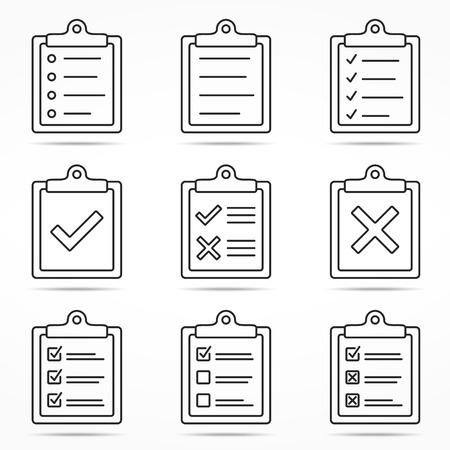 portapapeles: iconos del portapapeles con verificación y de la cruz símbolos, estilo de línea mínimo Vectores