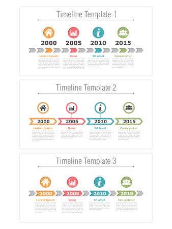grafica de barras: Tres plantillas línea de tiempo con las flechas