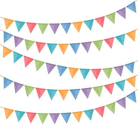 triangular banner: Bunting flags on white background Illustration