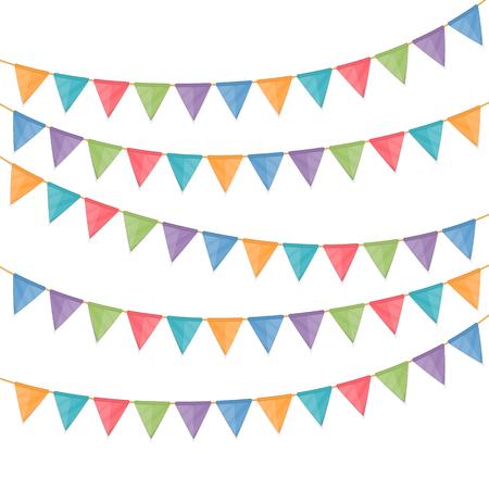 Bunting vlaggen op een witte achtergrond Stock Illustratie