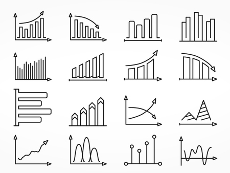 stock market charts: Line icons of different graphs