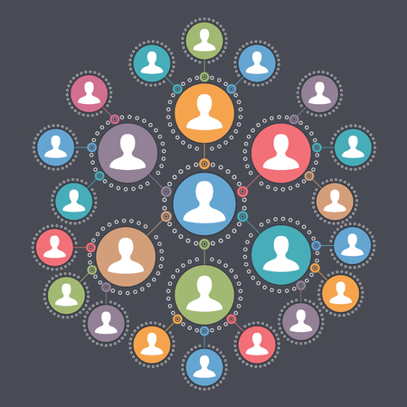 friend chart: Social media network, people connection and communication concept Illustration