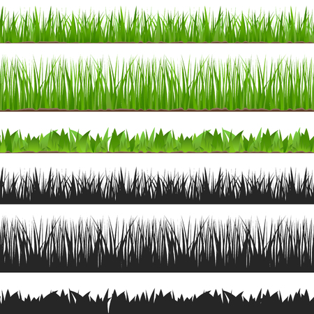lawn grass: Seamless grass and its silhouette
