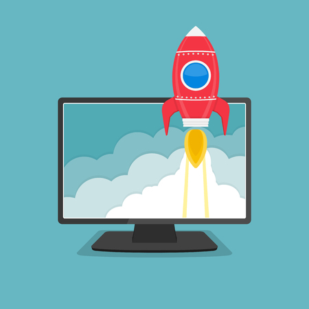 science and technology: Computer monitor with a rocket flying out of the screen, startup business or project concept Illustration