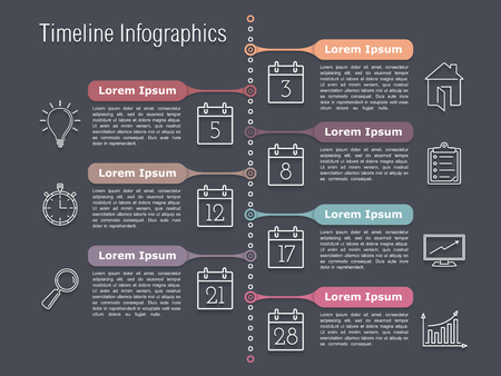 vertical bars: Vertical timeline infographics design template with line icons Illustration