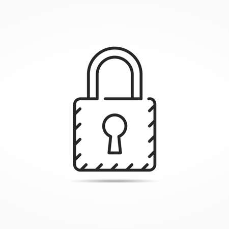 minimal: Minimal lock line icon Illustration