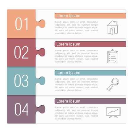 Infographic design template, vier puzzelstukjes met tekst en pictogrammen Stock Illustratie