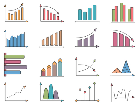 upward graph: Graphs and charts, set of colored icons Illustration