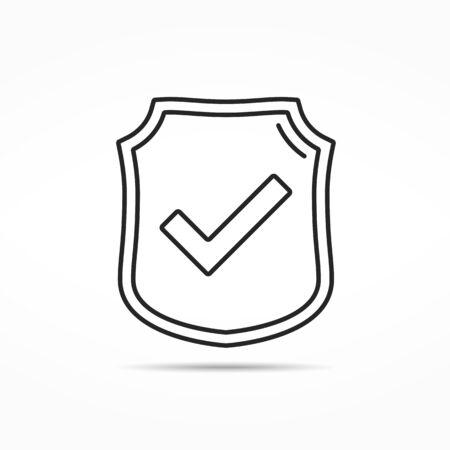 defend: Shield with check mark minimal line icon