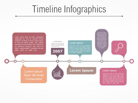 flujo: Plantilla infografía línea de tiempo con diferentes elementos para su información, el texto y los iconos Vectores