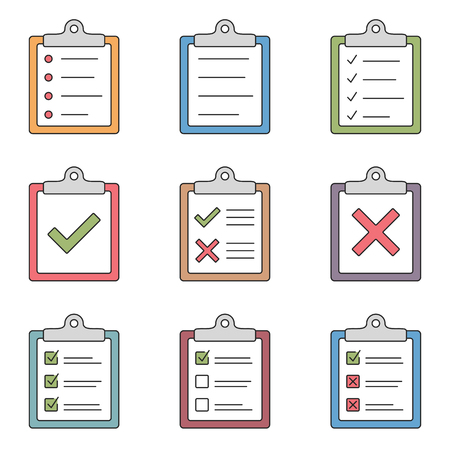 Colored check list icons Vectores