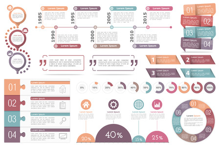 progress: Set of infographic elements - circle diagram, timeline, progress indicators, diagram with percents, design templates with numbers steps or options and text, quote frames or text boxes