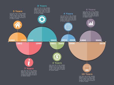 intervals: Timeline infographics design template with different time intervals Illustration