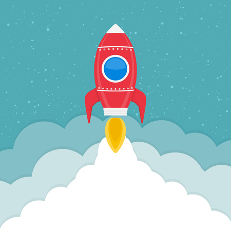 rocketship: Rocket launch, business or project start-up concept Illustration