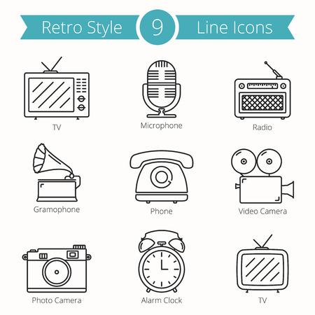 clock radio: Set of 9 line icons of retro style objects - tv, microphone, radio, ramophone, phone, video and photo camera, alarm clock