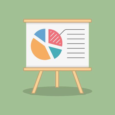 finance report: Pie chart on blackboard, business or finance concept, report or statistics, flat design Illustration