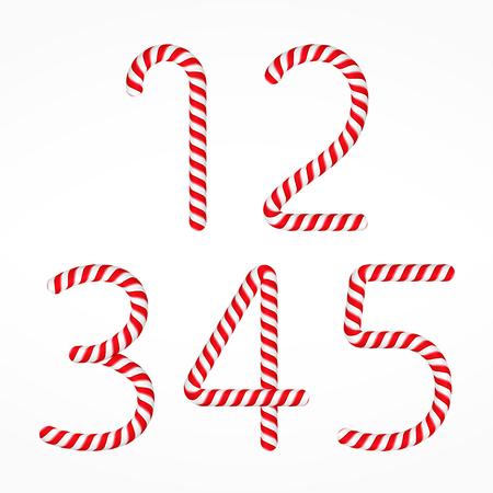 golosinas: los números de los bastones de caramelo conjunto 1, uno, dos, tres, cuatro y cinco Vectores