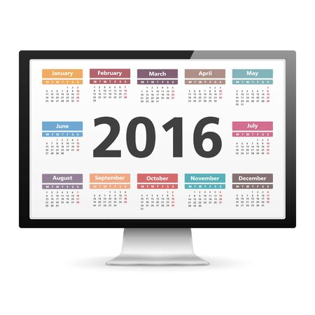 note pc: Computer monitor with 2016 calendar Illustration