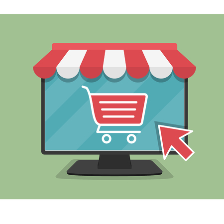 Online store concept illustration, computer monitor with awning, shopping cart icon and mouse cursor, flat design