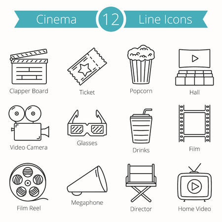 film industry: 12 Cinema Line Icons Illustration