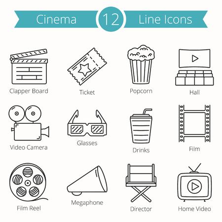 12 Cinema Line Icons Illustration