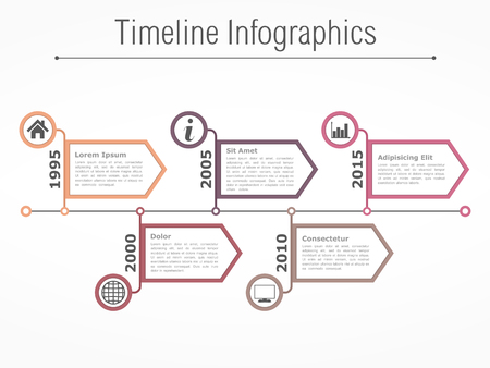 bar graph: Horizontal timeline infographics design template with arrows Illustration