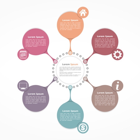 Circle flow diagram template with six elements Stock Illustratie