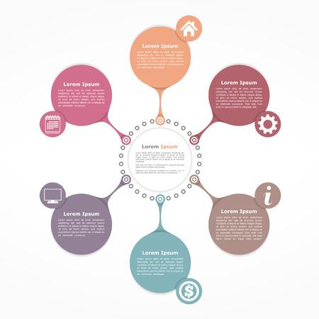 diagrama de procesos: plantilla de diagrama de flujo del círculo con seis elementos Vectores